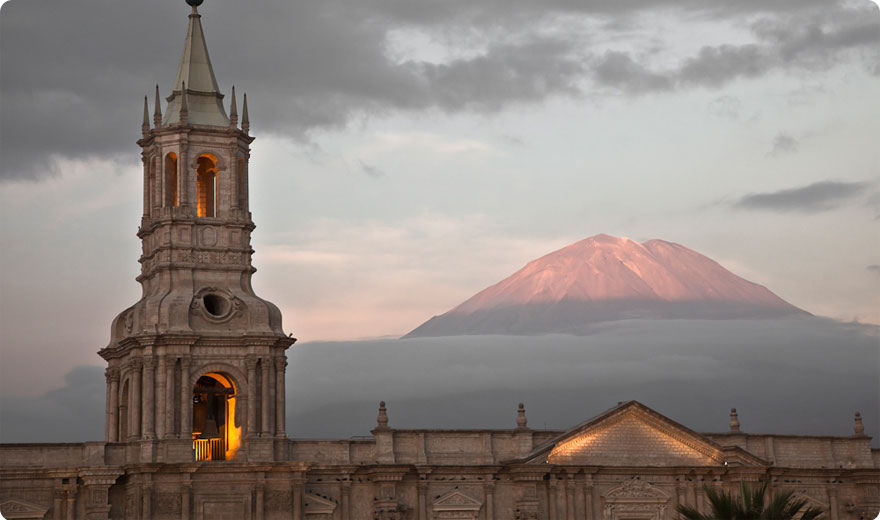 Cathedral of Arequipa & Volcan Misti