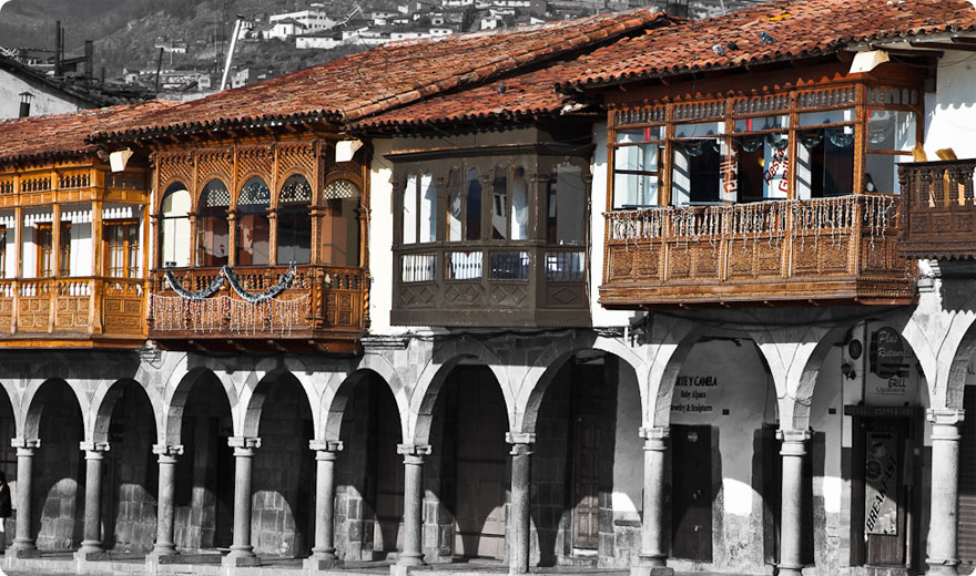 Colonial balconies on Plaza de Armas, Cusco